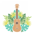 Ukulele and tropical leafs vector image vector image