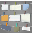 various notes and a clothes pegs vector image vector image