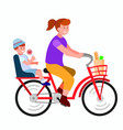 woman on bicyle with her child going to school vector image vector image
