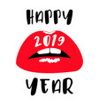 woman red lips happy new year 2019 flat red lips vector image vector image