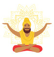 yogi man in yoga lotus pose and with arms raised vector image vector image