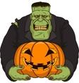 Zombie with pumpkin vector image