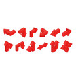 3d arrows isometric red multidirectional arrows vector image vector image