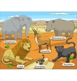 african savannah animals with names cartoon vector image vector image