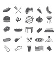 bbq and fast food web icons set flat design vector image