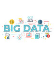 big data word lettering vector image vector image
