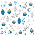 blue silver gold christmas ball seamless pattern vector image