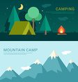 Camping and Mountain Camp in Flat Design Style for vector image