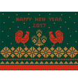 card Happy New Year with red and gold ornament vector image vector image