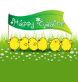 Cute baby chicken with happy easter flag on green vector image vector image