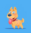 cute dog on blue background new year 2018 symbol vector image