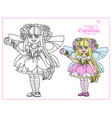 cute girl in fairy with pink flowers costume vector image vector image