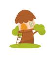 cute small treehouse fairytale fantasy house for vector image vector image