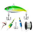 Different kind of fishing equipments vector image vector image