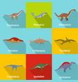 dinosaur icons set flat style vector image vector image