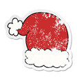 distressed sticker of a cartoon christmas hat vector image vector image