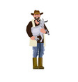 farmer with goat kid vector image