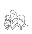 father mother and baby sketch hand vector image