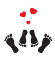 feet and hearts vector image vector image