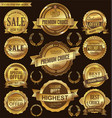 golden retro badges and labels collection vector image vector image