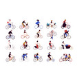 group tiny people riding bikes on city street vector image vector image