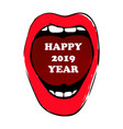 happy 2019 year woman red lips hand drawn vector image vector image