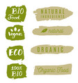 healthy food icons labels organic tags natural vector image vector image