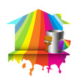 house and bucket with color paint vector image vector image