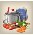 Kitchen utensils and vegetables kitchen vector image vector image