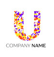 letter u logo with purple yellow red particles vector image vector image
