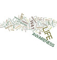 mastery of awareness text background word cloud vector image vector image