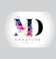 md vibrant creative leter logo design vector image