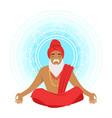 meditating yogi man in yoga lotus pose colorful vector image