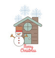 merry christmas snowman and house snowflake vector image