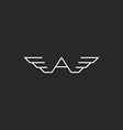 Monogram logo A letter wings black and white vector image vector image