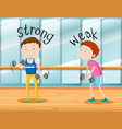opposite words for strong and weak vector image vector image