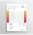 orange business invoice template design vector image vector image