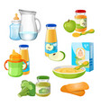 organic food for babies poster juices and vector image vector image