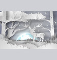 paper art of deer in the forest lanscape snow vector image vector image