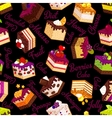 pattern with cakes on black vector image