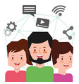 people characters smartphone vector image vector image