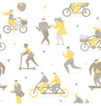 people riding bicycle in park vector image