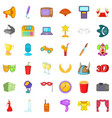 popcorn icons set cartoon style vector image vector image