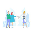 pregnant woman with husband at doctor appointment vector image vector image