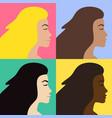 set bundle flat different woman profile vector image vector image
