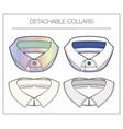 set detachable collars vector image