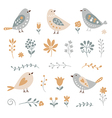 set graphic floral elements and birds vector image vector image