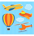 Set of cute colorful aircraft stickers vector image