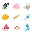 set of materials icons set isometric style vector image