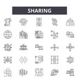 sharing line icons signs set linear vector image vector image